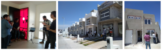 Pictures from left to right: Blower Door Test, houses from HERSO in Morelia, and houses from DEREX in Nogales.